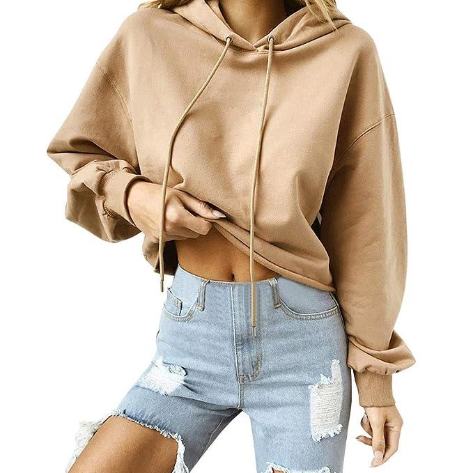 LAND-FOX Mujer Sudadera Estampada con Capucha, Mujer Suéter de Algodón con Estampado Sudaderas de Deporte: Amazon.es: Ropa y accesorios
