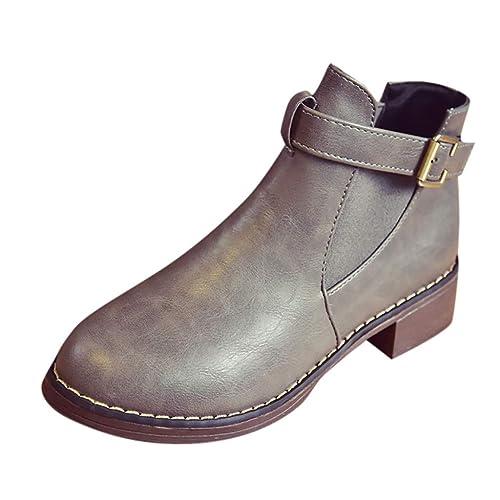Culater Los zapatos Botines de tacón Medio Cinturón de Mujer Hebilla Corta Cabeza Redonda.: Amazon.es: Zapatos y complementos