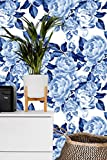Removable Wallpaper Mural Peel & Stick Peonies Flowers Chinoiserie Style Blue (84W'' x 84H'' Inches)