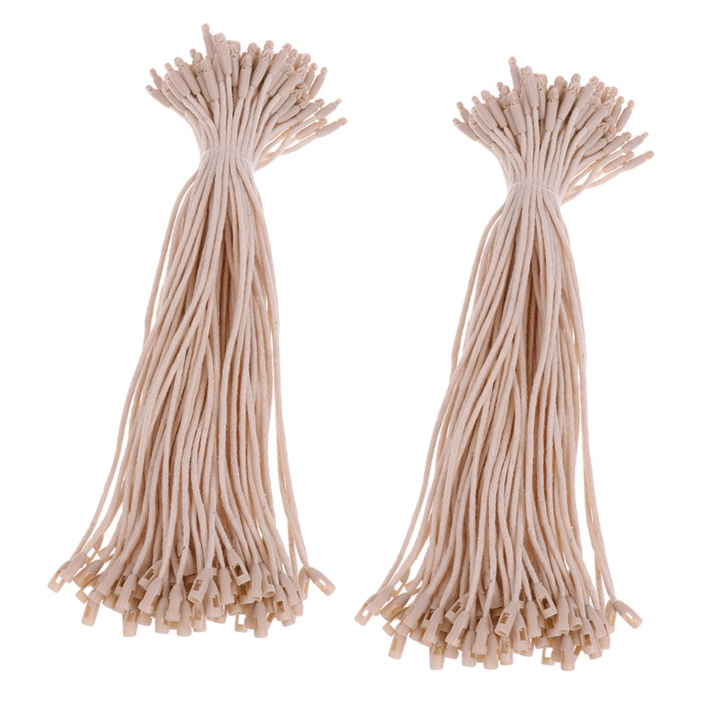 MagiDeal 200 Pieces Hang Tag Cotton Fasteners Bullet Tie String 7.5 inch Beige non-brand