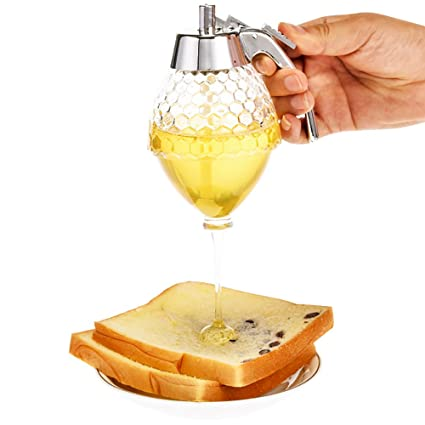 KOBWA Dispensador de miel irrompible, acrílico, botella de zumo apretable, sin goteo,