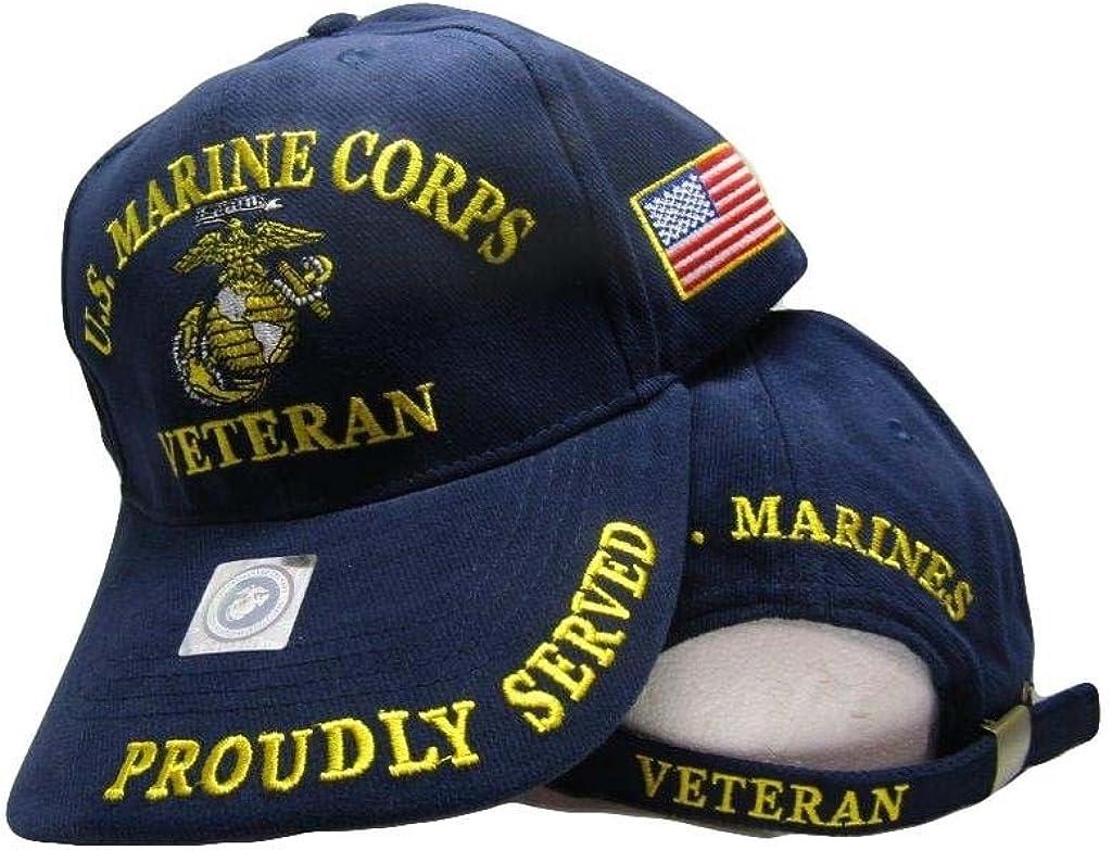 "Hat United States Marine Corps EGA Ball Cap USMC /""Marines/"" adjustable strap Blue"