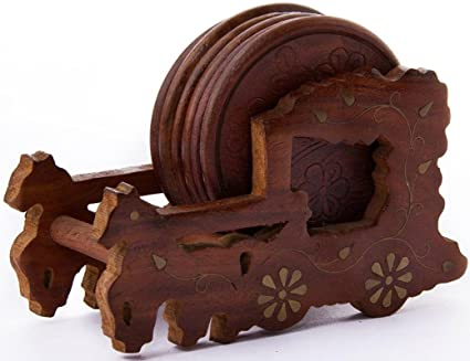 Chords Royal Indian Handicrafed Wooden Chariot Tea Coaster Amazon