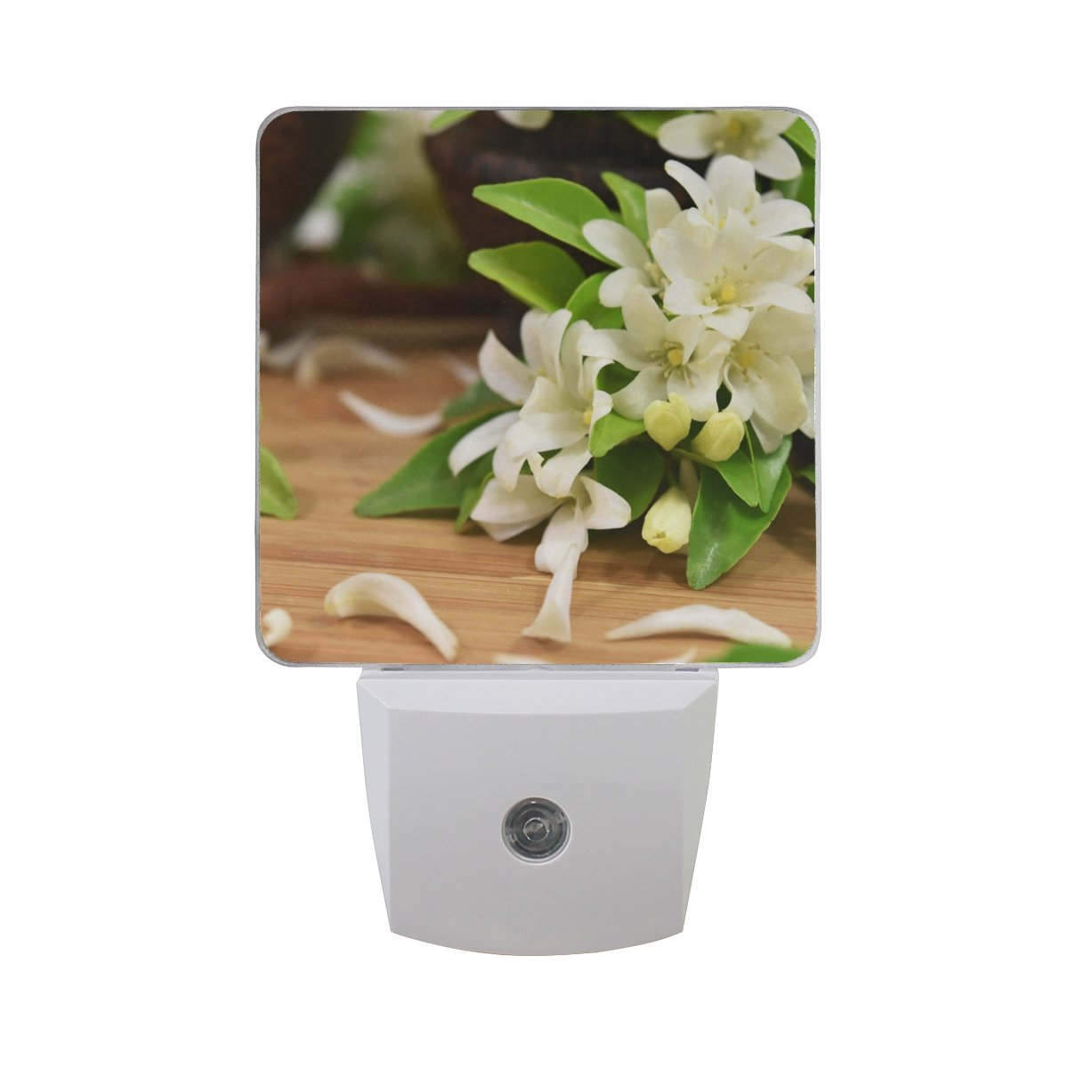 Naanle Set of 2 Thai Orange Jasmine With Flower Petal Green Leaves On Wood Auto Sensor LED Dusk To Dawn Night Light Plug In Indoor for Adults