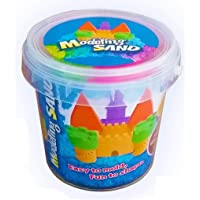AB SALES Kinetic Play Moldable Beach Magic Sand Set + 5 Pcs Molds, Colors May Vary (500 gm Bucket)