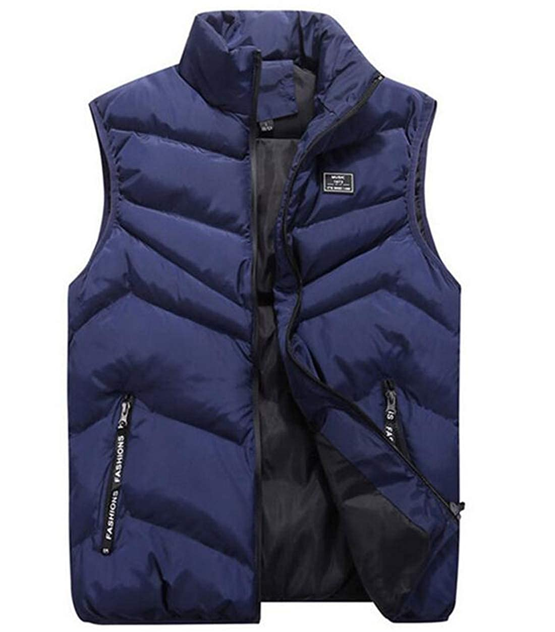 JXG Men Stand Collar Winter Warm Zip Front Quilted Sleeveless Down Puffer Vest
