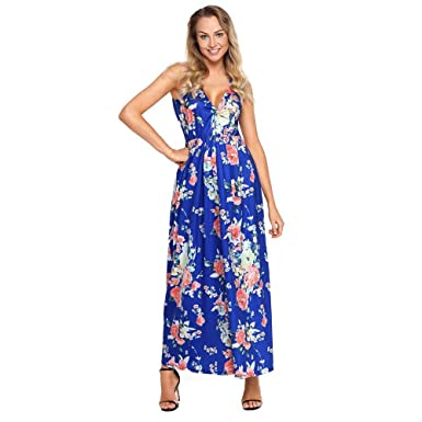 Mercantil Express New Women Fashion Multi Floral Print Maxi Dress Summer Sexy V Neck Sleeveless Loose