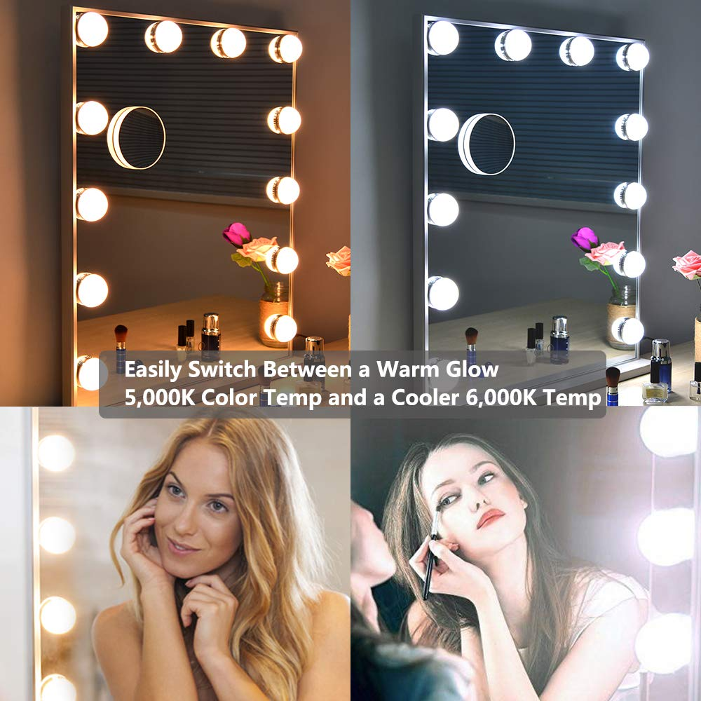 WONSTART Hollywood Makeup Vanity Mirror with Lights Kit, Lighted Makeup Dressing Table Vanity Set Mirrors with Dimmer, Tabletop or Wall Mounted Vanity, LED Bulbs Included by WONSTART (Image #5)