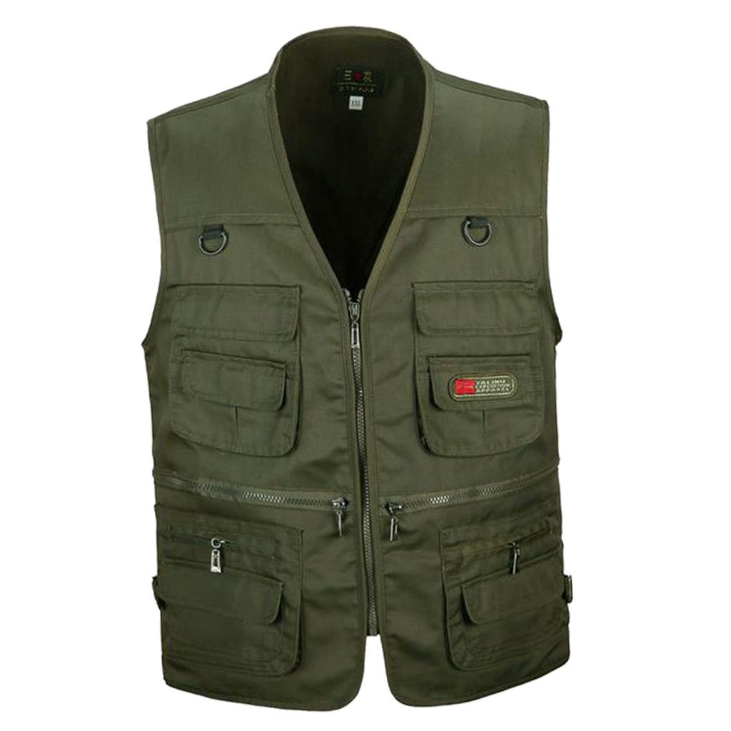 9a63c95e913bd Buy Men's Multi Pocket Zip Vest Hunting Fishing Travel Photography Outdoor  Casual Quick-Dry Waistcoat Jacket XL/XXL/XXXL - 4 Colors Online at Low  Prices in ...