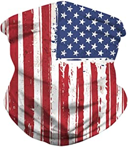 Feeke American Flag Gaiter/Cooling Neck Gaiter/Tube Headwear Bandana Running Cycling Motorcycle Face Cover for Women Men Face Scarf Unisex Seamless