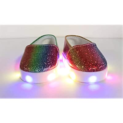 "Light UP Shoes for 18"" Dolls- Rainbow Glitter Canvas Sneakers American Girl Doll, Gotz, My Life,Journey,Our Generation,Australian,Bonnie and Pearl bjd Doll: Toys & Games"