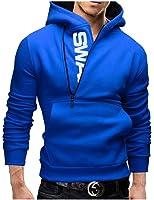 Zacoo Herren Slim Warmer Kapuzen Pullover Zipper Jacken Größe XXXXXL Blau