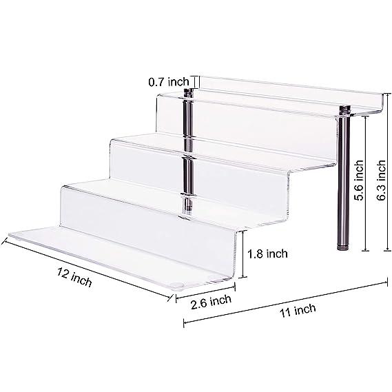 CECOLIC Soporte de exhibición de acrílico Transparente, Estante Vertical Grande de 4 Pasos, para Figuras Funko, Magdalena, lápiz Labial, Esmalte de uñas, condimento, 12 x 11 x 6.3in (2 Pack): Amazon.es: Hogar