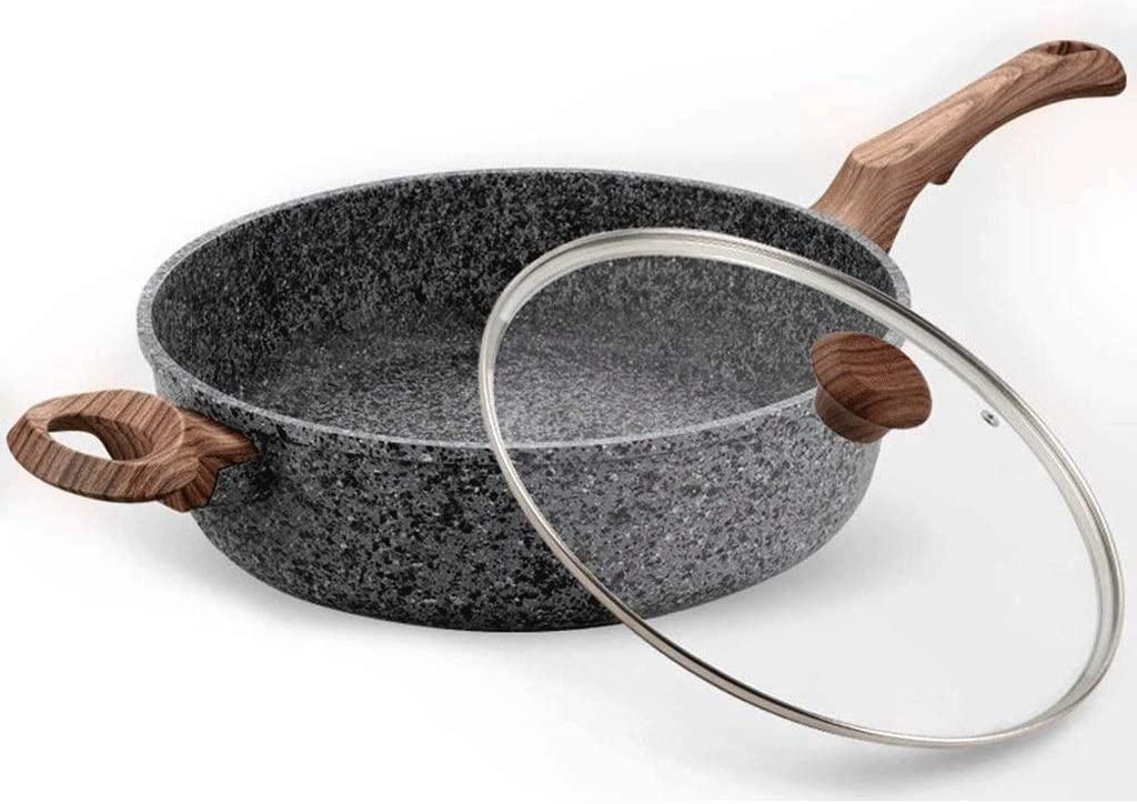 SMX Cast Aluminium Skillet, Non-Stick,11 inch Frying Pan Skillet Pan For, Even Heat Distribution,Wooden Handle