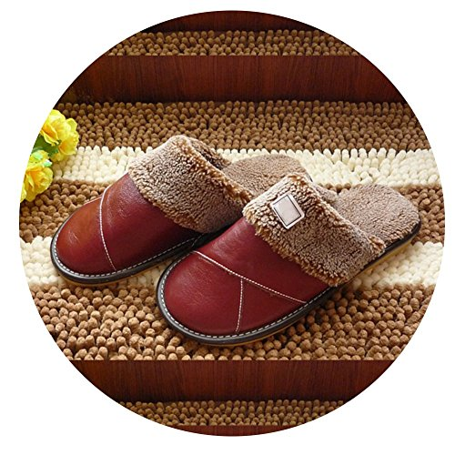 TELLW Winter Warm Leather Slippers For Men and Women Indoor Lovers Soft permeability Cowhide Slippers