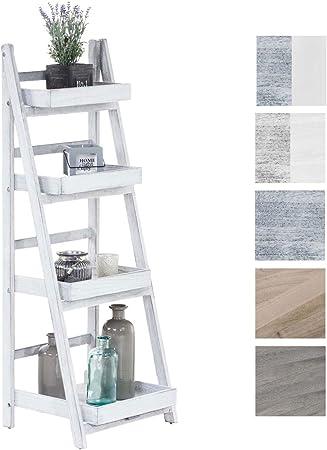 Estantería Escalera Dorin con 4 Estantes I Estantería Plegable en Estilo Rústico I Estantería Decorativa de Madera, Color: Blanco Envejecido: Amazon.es: Hogar