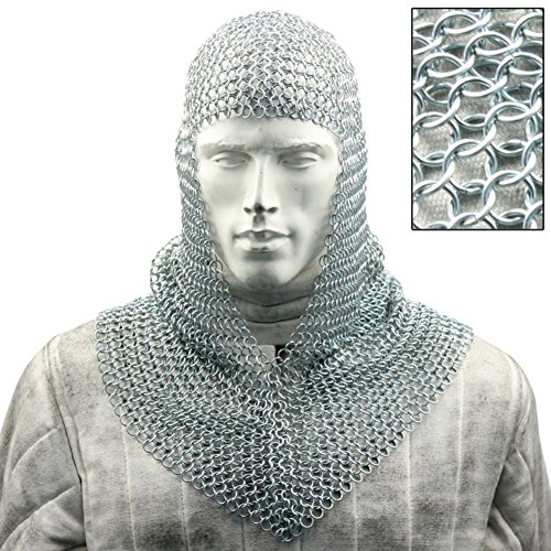 Medieval Battle Chainmail V Faced Mild Steel Coif (Mens Templar Knight Costume)