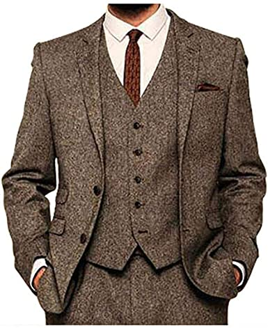 Men/'s Tweed Brown Vintage 3 Pieces Check Tuxedos Formal Wedding Suits Tailored