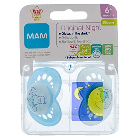MAM Night 2 x Chupetes 6m+ (Azul): Amazon.es: Bebé