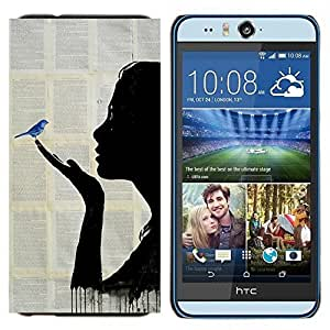 EJOOY---Cubierta de la caja de protección para la piel dura ** HTC Desire Eye M910x ** --Pintura libro Fairytale Blue Bird