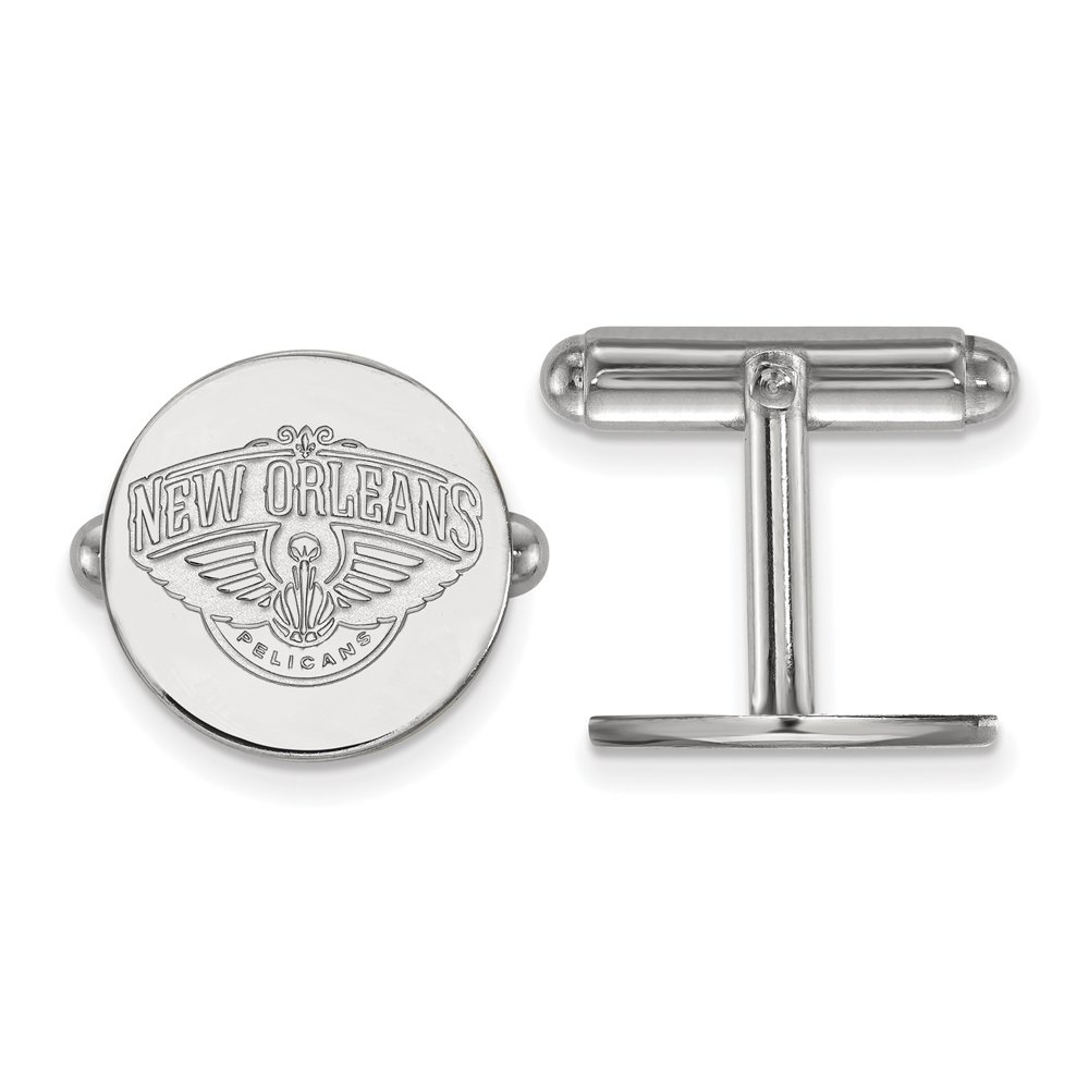 NBA New Orleans Pelicans Cuff Links in Rhodium Plated Sterling Silver