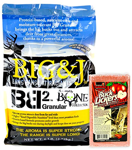 (Bundles by Creative Home Store Big & J BB2 Granular Long Range Deer Feed/Attractant - 6 LB & Evolved Habitats Buck Lickers Apple Flavored Salt Brick - 4 LB Set (2 Items))