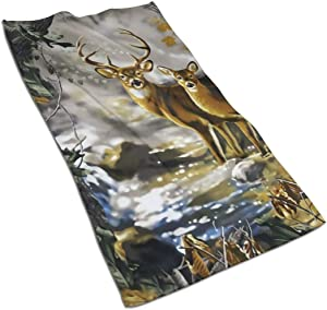Antvinoler Washcloth, Hand Towels Bathroom Accessories Real Tree Camouflage Deer - 27.5 X 15.7 Inch