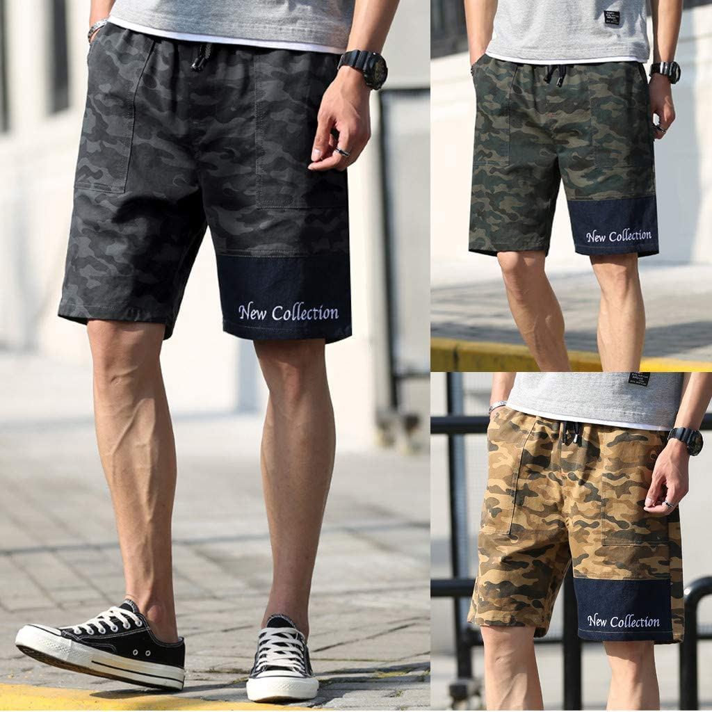 YIWNG Adult Mens Beach Trousers Classic Camo Fashion Camouflage Breathable Surf Shorts