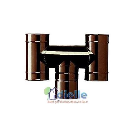 Chimenea Terminal Fumaiolo ad H para estufas de leña esmaltado marrón Diam. CM.10