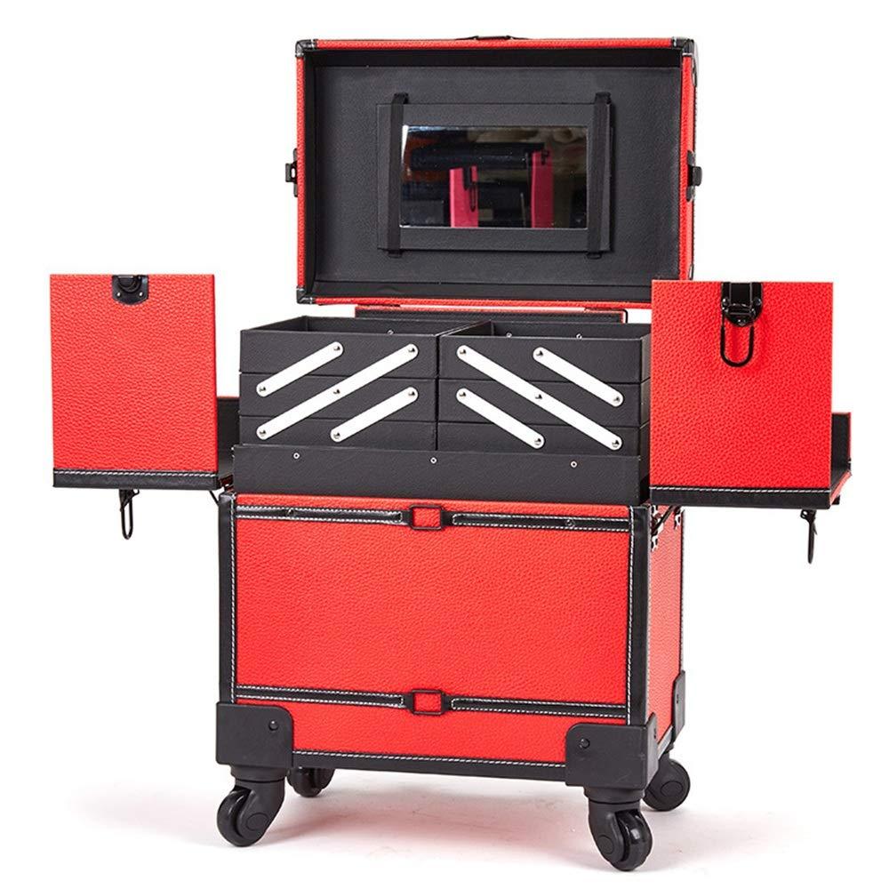 2019年秋冬新作 化粧オーガナイザーバッグ 多機能360度車輪3イン1プロフェッショナルアルミアーティストローリングトロリーメイクトレインケース化粧品オーガナイザー収納ボックス 化粧品ケース (色 (色 : 赤 ブラック) : B07Q4HB688 赤 赤, GINZA RASIN:3907f451 --- a-school-a-park.ca