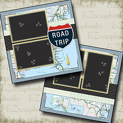 Page Kit Scrapbooking 12 (ROAD TRIP - Premade Scrapbook Pages - EZ Layout 110)