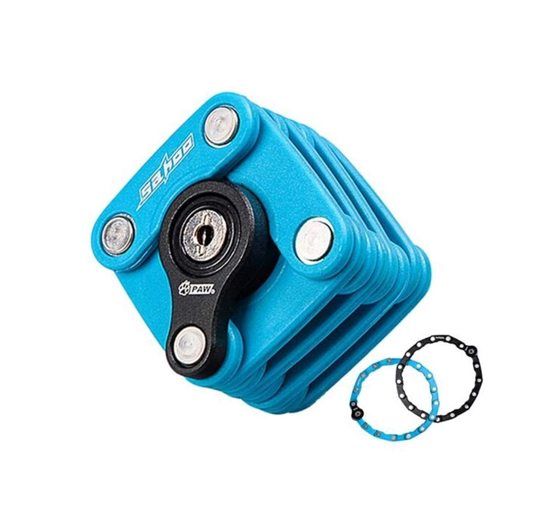 Kalmar Lock, Square Foldable Chain Lock Anti-Theft Lock for Racing Mountain Road Bicycle Bicycle Electric Motorcycle Battery Car, Blue/Black High Security Lock Best for Bicycle Outdoors