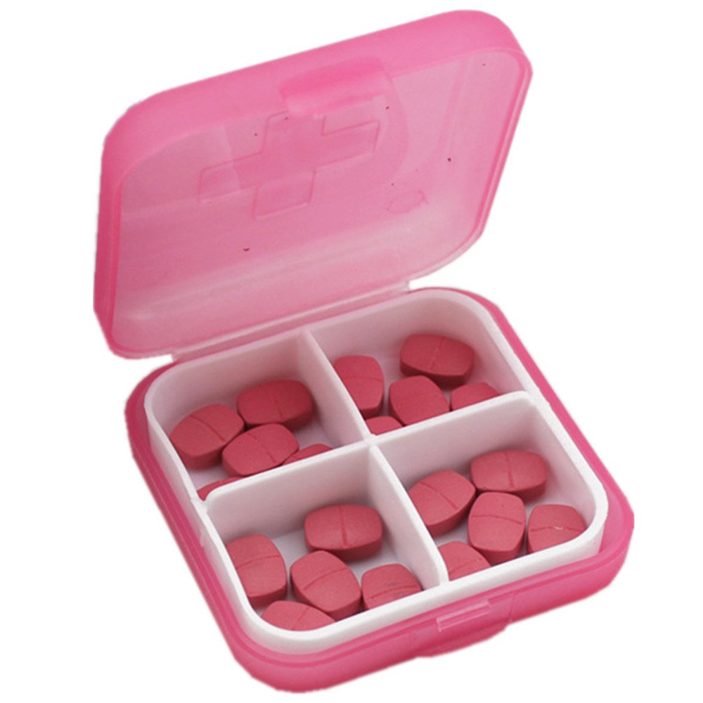 ♚Rendodon♚ Pill Box, House Storage, Cross 4 pp Plastic Small Pill Box with Medicine Box, Mini 4 Slots Portable Medical Pill Box Drug Medicine Case Organizer New (Pink)