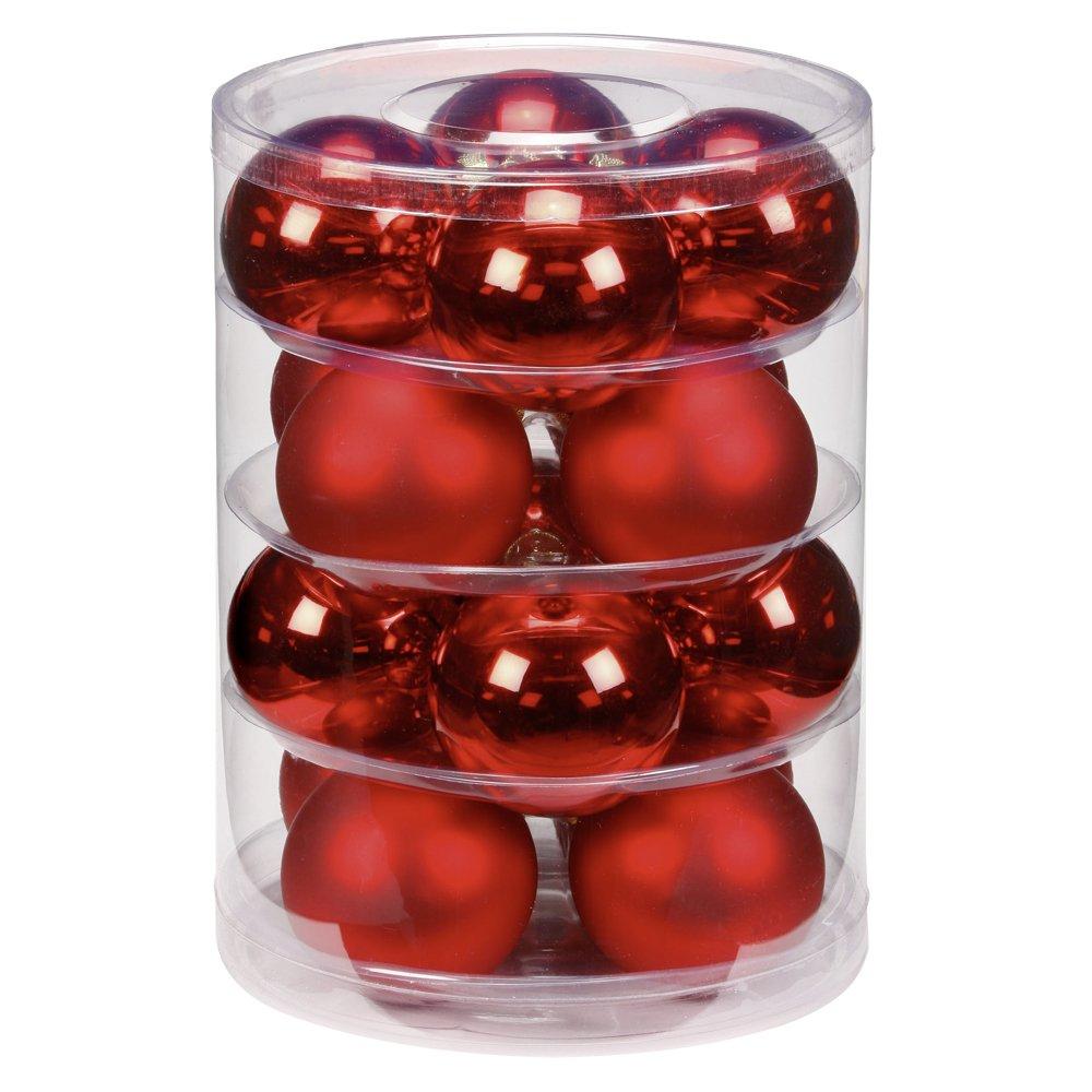 Inge-glas 1202D004 - Bolas de Navidad, 75 mm, 16 unidades, color rojo brillante/mate 75mm Inge Glas 12002D004