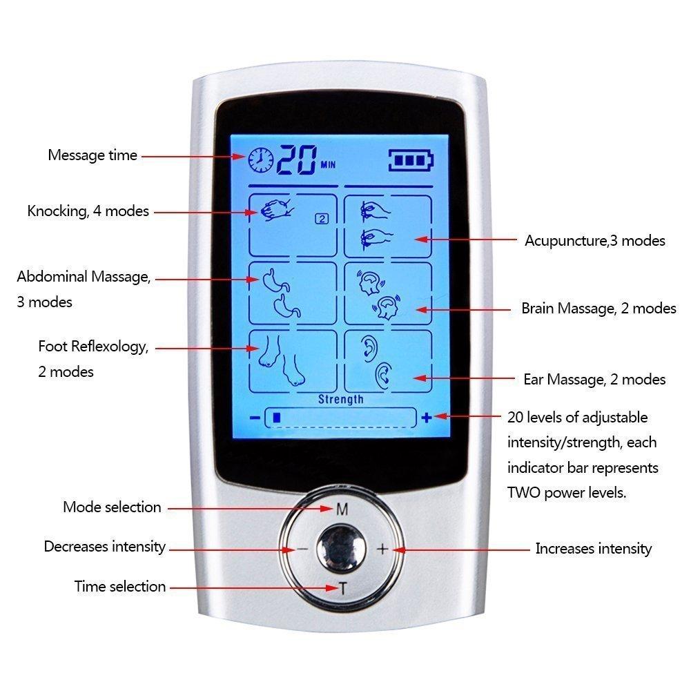 ARINO Apparato / Dispositivo Massaggiatore TENS EMS per Massaggi, 2 Canali 16 Programmi per Massaggio a Impulso per Trattare Tensione Muscolare, Collo, Sciatica e Dolori Muscolari