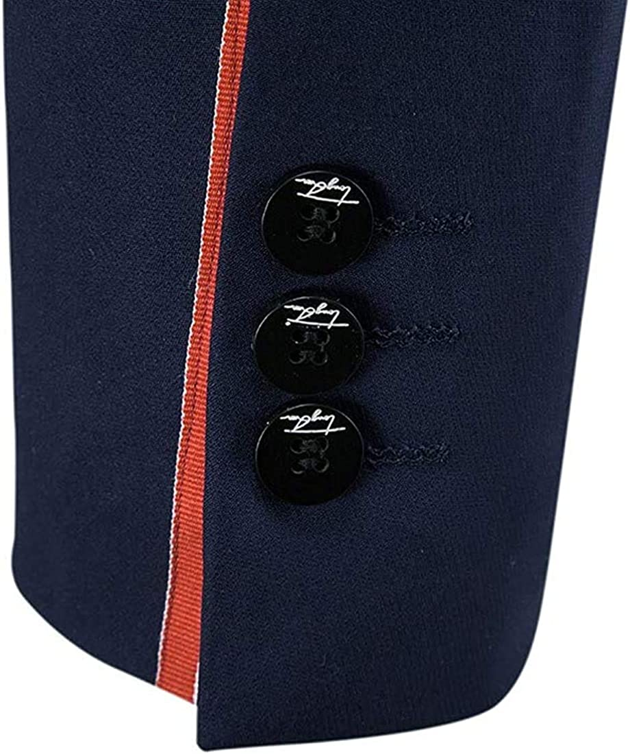 Phggdshfdf Men Tuxedo Bussiness Casual Two-Button Blazer Jacket & Trousers Set 2-Piece Navy Blue