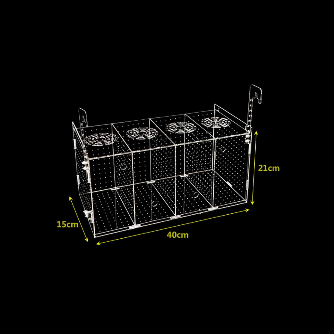 Acrylic Fish Tank Isolation Box - Aquarium Fishes Breeding Hatchery Box, Separation Tank(Hanging Type/Four Grids,401521cm) by YaToy (Image #2)