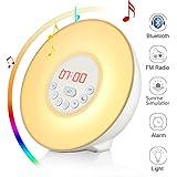 Wake Up Licht, Lichtwecker Wecker, Wuloo Bluetooth Sonnenaufgang Simulation Wecker, Bluetooth Lautsprecher, Natur klingt FM Radio, 7 Farben / 10 Helligkeit, Touch Control Sunset & Snooze