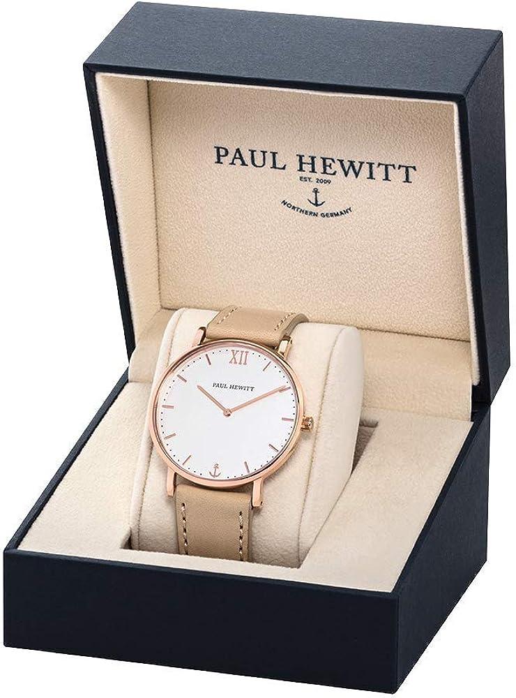 PAUL HEWITT Montre-Bracelet pour Femme Sailor Ligne en Acier Inoxydable IP Or Rose avec Cadran Clair ou foncé Or Rosé | Blanc | Cuir | Nude
