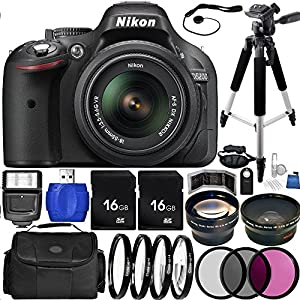 Nikon D5200 DSLR Camera Bundle with DX NIKKOR 18-55mm f/3.5-5.6G VR Lens, Carrying Case and Accessory Kit (29 Items)