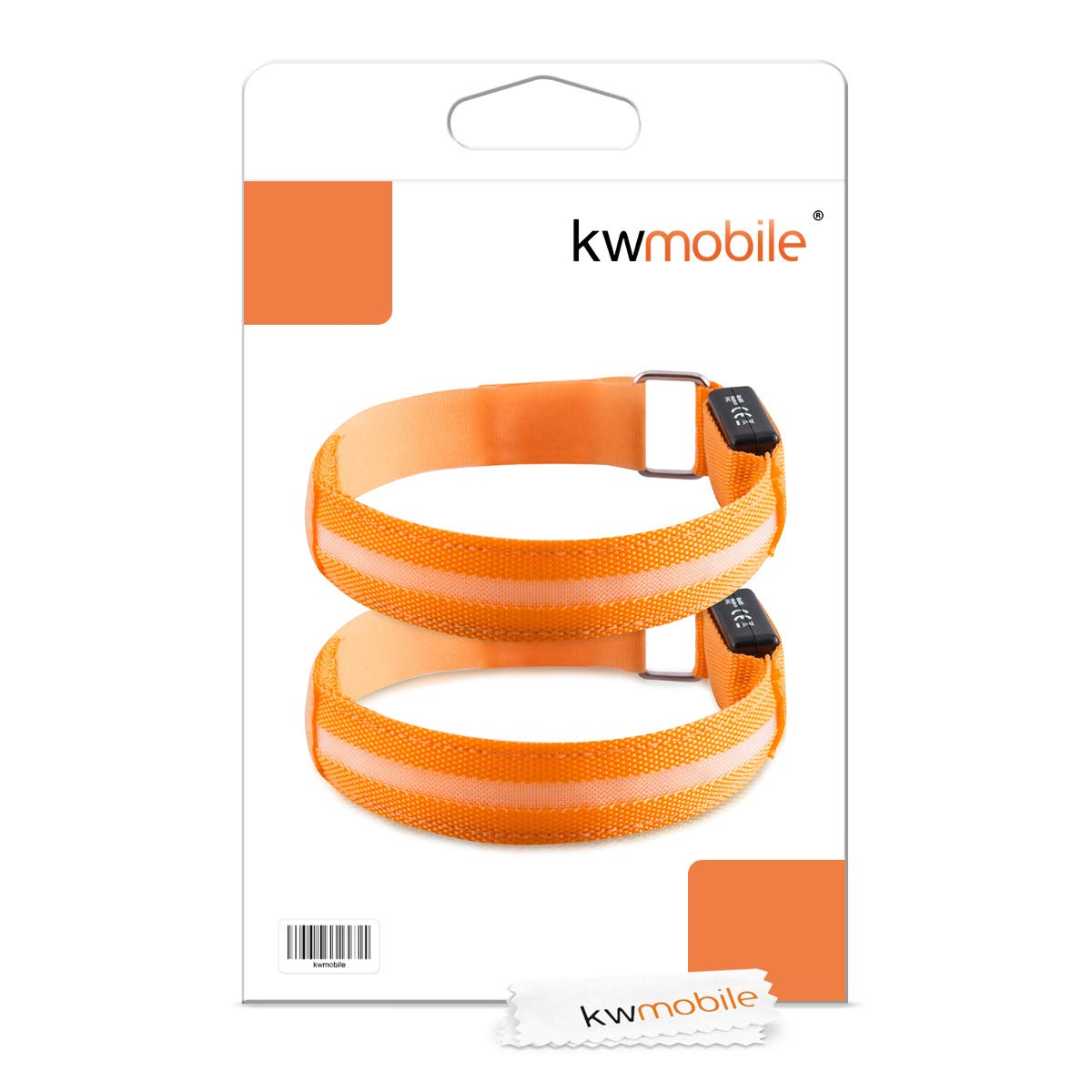 Leg Glow in the Dark Safety Bracelet for Arm kwmobile 2x LED Light Armband Outdoor Sports Bands for Jogging Cycling Walking Ankle