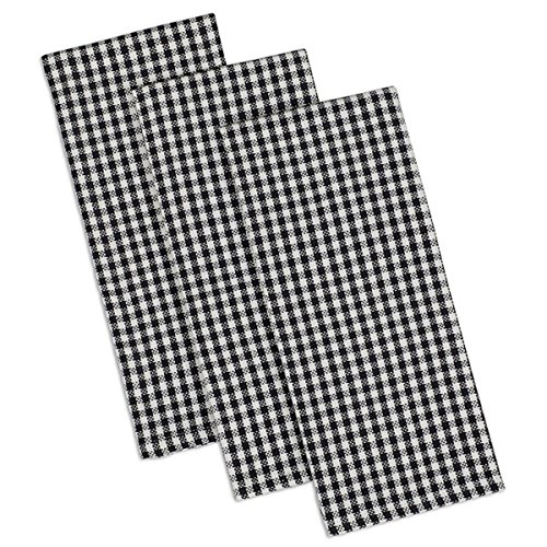 DII Design Imports Black Check Heavyweight Kitchen Towel Set of 3 Size 18 X 28