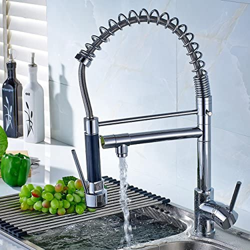 Terra Pull Out Kitchen Sink Faucet w Sprayer and Pot Filler Spout, All Metal Body, Durable Ceramic Cartridge Single Handle Operation, 360 Degree Swivel, Impressive Industrial Design Chrome