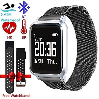 Jesam Fitness Tracker for Men Women Kids - IP68 Waterproof Milanese Loop Steel Mesh Activity Fitness Track Smart Watch with 2.5D OLED Touch Screen Blood Oxygen Blood Pressure Heart Rate Smart Watch