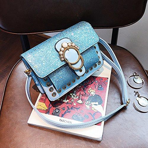 de Mujer Bolsos Marrón marrón Bandolera para Azul PU Gris Negro GMYAN Botones SgfXqRwRx