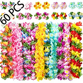Moon Boat 60PCS Hawaiian Luau Leis Necklaces Bracelets - Tropical Tiki Hibiscus Flowers/Summer Pool Party Favors Supplies Decorations