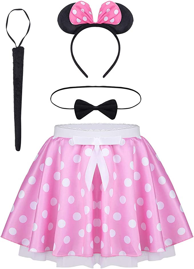 Minnie Mouse Maus Kinder Baby Mädchen Tutu Tüll Kleid Faching Karneval Kostüm