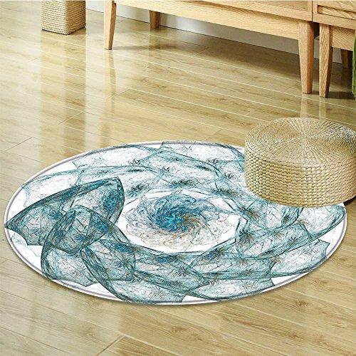 Small round rug Carpet Flower Shaped Spiral Vortex with Hazy Elements Art Teal door mat indoors Bathroom Mats Non Slip-Round 24
