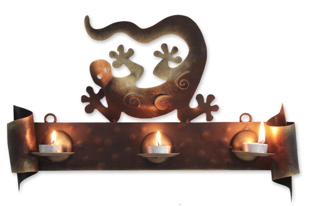 NOVICA Decorative Metal Candle Sconce, Brown, Happy Gecko'