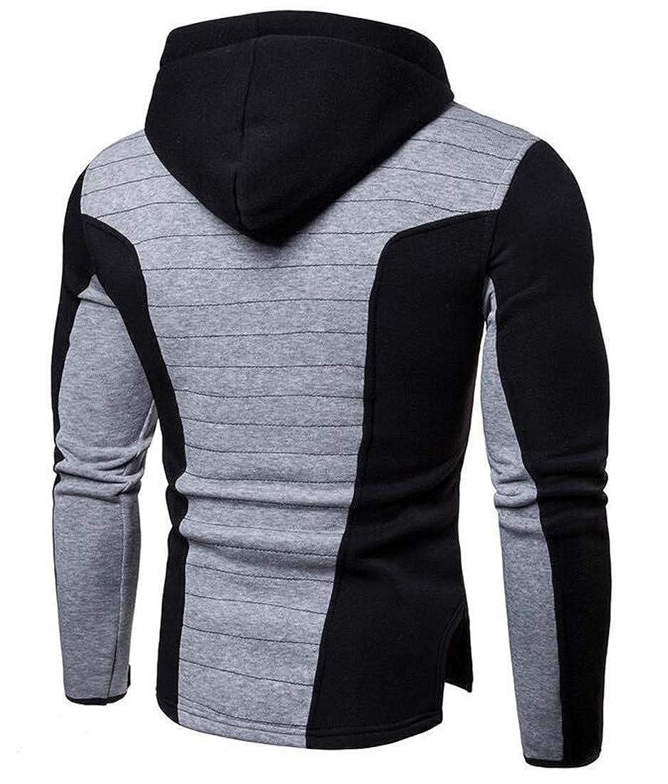 Cromoncent Mens Slim Hoodie Jacket Sport Coat Drawstring Spliced Sweatshirts